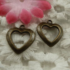 free ship 80 pieces bronze plated heart charms 18x15mm #4110