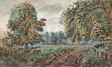 IMPRESSIONIST FOREST TRACK IN LANDSCAPE Watercolour Painting THOMAS JONES c1910