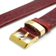Fine Croc Grain Watch Strap Band Gilt Keeper 20mm Burgundy g
