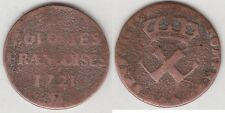 C1 France COPPER SOU Nine Deniers 1721 H FRENCH COLONIAL US Coinage RARE