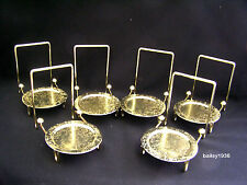 6 Tea Cup & And Saucer Stand Display Brass Etched Base Tripar 23-2452 SIX PACK