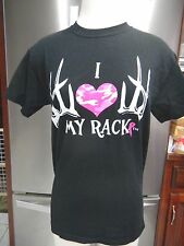 GILDAN DRY BLEND SZ S BLACK I LOVE MY RACK BREAST CANCER T SHIRT PINK CAMO HEAR