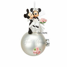 2016 Disney Store Mickey & Minnie Mouse Wedding Married Ball Christmas Ornament