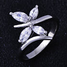 Shining White Gold Filled Swarovski Crystal Womens Butterfly Lady Rings Size 7.5