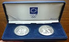 2004 GREECE - PROOF OLYMPIC 2 Oz SILVER SET (2) - SOCCER & BASKETBALL - BOX, COA
