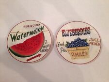 "HOME TRENDS FARM FRESH WATERMELON BLUEBERRIES SALAD PLATES 8"" SET Of 2"