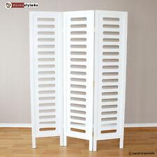 3 fach Paravent Raumteiler Holz Trennwand in weiß Kleidungsständer