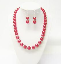 "Red Glass Pearl /w Rondelle Crystal Rhinestone Bead Necklace & Earrings (18.5"")"
