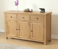 SOLID CHUNKY WOOD RUSTIC OAK LARGE SIDEBOARD CUPBOARD CABINET