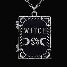 RESTYLE WITCH BOOK LOCKET NECKLACE. PENTAGRAM. OCCULT. WITCHCRAFT. GOTHIC. WICCA