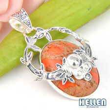 Beautiful Handmade Natural Oval Copper Turquoise Gems Silver Necklace Pendant