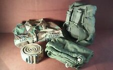Mixed Lot of 4 Vintage US Military Items, Strap, Barrack Bag, Shirt, Sm Backpack