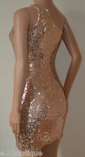 VICKY MARTIN sequin one shoulder fitted copper pink mini dress BNWT 6 8 10 £185!