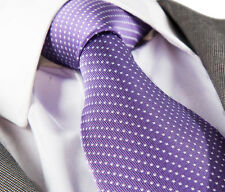NEW ITALIAN DESIGNER PURPLE & WHITE POLKA SILK TIE