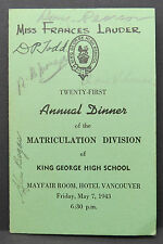 King George HIgh School Annual Dinner Hotel Vancouver Autograp Signed (Lot I-577