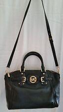 Michael Kors Handbag Black Buckle MK Insignia Front Satchel EUC