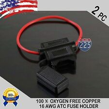 2 PACK 16 GAUGE ATC IN-LINE FUSE HOLDER 100% OFC COPPER WIRE CABLE WATERPRO