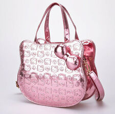 Exclusive hello kitty shaped purse bag metallic light baby pink peace sign heart
