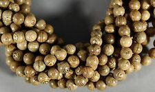 "BULLSEYE WENGE WOOD 10mm ROUND BEADS TIBET BUDDHIST BUDDHISM PRAYER 20"" STR"