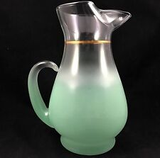 VTG BLENDO Green Frost Pitcher Mid-Century West Virginia Glass Bulbous Base 68oz