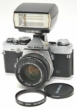 Olympus OM2n MD 35mm SLR Film Camera w/ Zuiko 50mm F1.8 & T -20 Flash