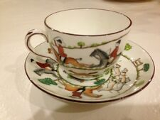 Crown Staffordshire Porcelain Fox Hunt Equestrian Hunting Scenes Cup and Saucer
