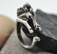Antique Silver Plt Horse Pony Ring  / Thumb Ring Adjustable Ladies Girls gift