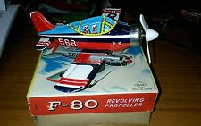 Vintage tin friction powered F-80 yone plane made in japan boxed working