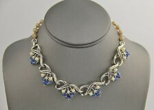 50s VINTAGE Jewelry SIGNED STAR IMITATION PEARL & BLUE RHINESTONE NECKLACE - 17""