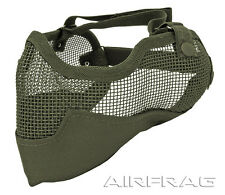 2G Strike Steel Mesh Airsoft Paintball Half Mask Ear & Face Protector -OD Green