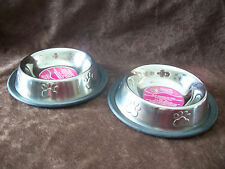 Qty. of 2 Stainless Steel Small Pet Food Bowls Water Dish Non-slip Dog or Cat
