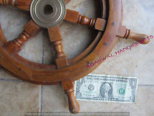 NAUTICAL WOODEN SHIP STEERING WHEEL WOOD BRASS WALL BOAT CAPTAIN UNIQUE GIFT