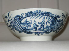 18th C Worcester Bowl 'Mother Child and Man Fishing' Pattern - 6.25 inches diam