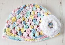 Handmade Crochet Baby Beanie Hat 3-6 months 100% Cotton