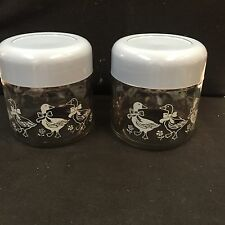 Corelle GEMCO Glass Canister Storage Jars Set of 2 WITH BLUE LIDS & DUCKS USA!!!