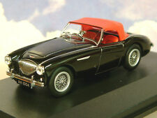 OXFORD DIECAST 1/43 AUSTIN HEALEY 100 BN1 WITH RAISED HOOD BLACK/RED HOOD AH1004