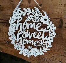 White Wood Home Sweet Home Wall Sign Hanging Gisela Graham New Vintage Flower