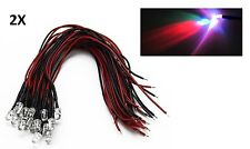 2 LED CABLATI 5mm RGB ultraluminosi 20000 MCD 12V con cavo pronto diodi cable