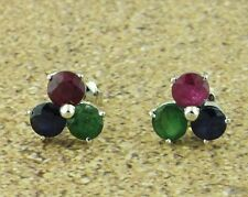 1.50 ct RUBY SAPPHIRE  EMERALD STUD EARRING WHITE GOLD  14k