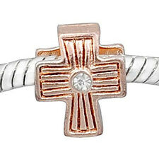 Cross w/ Clear  Crystal Rose Gold Plated Charm European Bead Compatible for Most