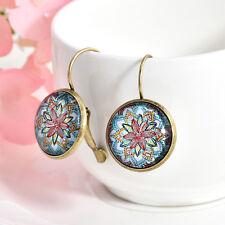 1 Pair Women Charm Jewelry Bronze Glass Round Flower Ear Stud Pierced Earrings