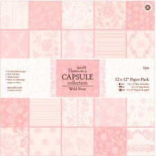 "Papermania 12 x 12"" scrapbooking capsule collection 32 sheets Wild rose ( Pink)"
