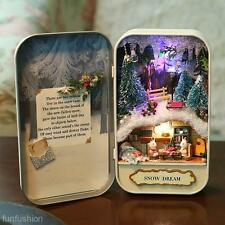 Dollhouse DIY 3D Theater Miniature Box LED Doll Houses Kids Toy Gift Snow Dream