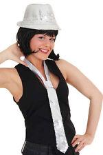 Glitzer Pailletten Krawatte silber NEU - Zubehör Accessoire Karneval Fasching