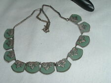 VINTAGE ART NOUVEAU GREEN CHRYSOPRASE CHOKER NECKLACE IN GIFT BOX