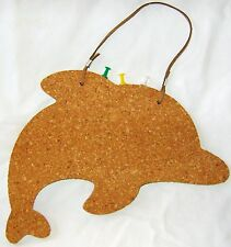 NEW CHILDREN'S HANGING CORK MEMO PIN BOARD WITH TACKS DOLPHIN SHAPED SIL