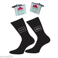 Pair of Trust Me I'm a Estate Agent Socks & For Sale Now Sold Cufflinks