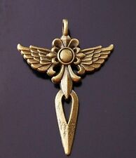 1x Angel Large Wings Sword Cross Antique Bronze Charm Pendant 47mm (TSC102B)