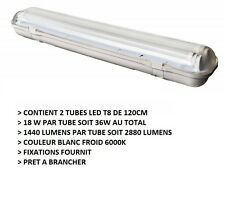PLAFONNIER A DOUBLE TUBE LED T8 36W - 2880 LUMENS - BLANC FROID