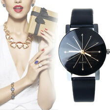 Fashion Women's Date Geneva Leather Stainless Steel Analog Quartz Wrist Watch